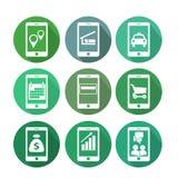 Iconos de la transacción comercial usando el teléfono móvil Imagen de archivo libre de regalías