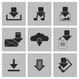 Iconos de la transferencia directa del negro del vector fijados Foto de archivo libre de regalías