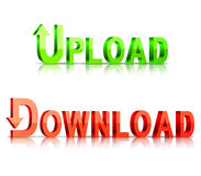 Iconos de la transferencia directa y de la carga por teletratamiento Fotografía de archivo libre de regalías