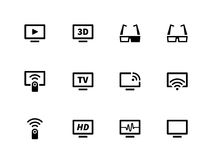 Iconos de la TV en el fondo blanco Fotografía de archivo libre de regalías