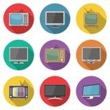 Iconos de la TV en estilo plano del diseño Imágenes de archivo libres de regalías