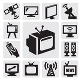 Iconos de la TV fijados Fotos de archivo libres de regalías