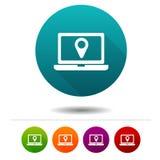 Iconos de la ubicación Muestras del ordenador portátil Símbolo de las compras Botones del web del círculo del vector ilustración del vector