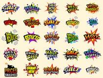 Iconos de la venta de la historieta Imágenes de archivo libres de regalías