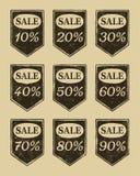Iconos de la venta de la vendimia fijados Imágenes de archivo libres de regalías