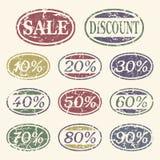 Iconos de la venta de la vendimia fijados Imagen de archivo libre de regalías
