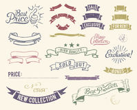 Iconos de la venta de la vendimia fijados stock de ilustración