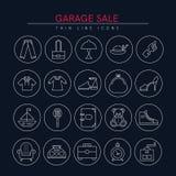 Iconos 3 de la venta de garaje Fotografía de archivo