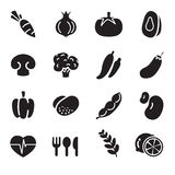 iconos de la verdura de la silueta Foto de archivo libre de regalías