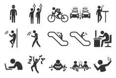 Iconos de la vida de ciudad stock de ilustración