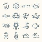 Iconos de la vida marina Foto de archivo