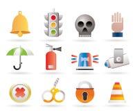 Iconos de la vigilancia y de la seguridad Fotos de archivo libres de regalías
