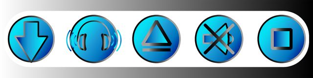 Iconos de la web de la pendiente de la m?sica y del juego en tonalidades azules Sistema 3 stock de ilustración