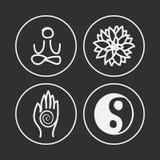 Iconos de la yoga Foto de archivo libre de regalías