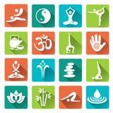 Iconos de la yoga del balneario del masaje con la sombra larga Foto de archivo