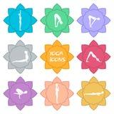 Iconos de la yoga Diseño plano € Imagenes de archivo
