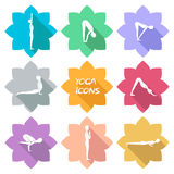 Iconos de la yoga Diseño plano Sombra € Foto de archivo