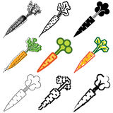 Iconos de la zanahoria fijados Fotos de archivo