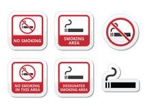 Iconos de la zona de no fumadores, de fumadores fijados Fotografía de archivo libre de regalías