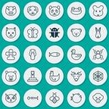 Iconos de la zoología fijados Colección de pescados, de aves de la noche, de babuino y de otros elementos También incluye símbolo Fotografía de archivo libre de regalías