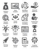 Iconos de lanzamiento del negocio y del desarrollo Fotografía de archivo libre de regalías