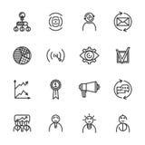 Iconos de lanzamiento lineares fijados Icono de lanzamiento universal a utilizar en web y UI móvil Sistema de elementos básico de Foto de archivo libre de regalías