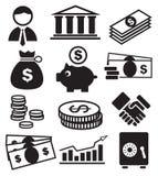 Iconos de las actividades bancarias Foto de archivo libre de regalías