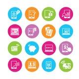 Iconos de las actividades bancarias en línea Imagen de archivo libre de regalías