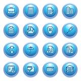 Iconos de las actividades bancarias en los botones azules. Foto de archivo