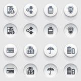 Iconos de las actividades bancarias en los botones blancos. Sistema 1. Fotos de archivo libres de regalías
