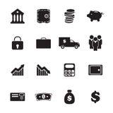 Iconos de las actividades bancarias fijados Imágenes de archivo libres de regalías