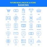 Iconos de las actividades bancarias - paquete azul de 25 iconos de Futuro libre illustration