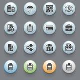 Iconos de las actividades bancarias para el Web site en fondo gris. Imagenes de archivo