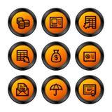 Iconos de las actividades bancarias, serie anaranjada Foto de archivo libre de regalías