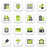 Iconos de las actividades bancarias. Serie gris verde. Imagen de archivo libre de regalías