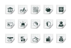Iconos de las actividades bancarias |Serie pegajosa stock de ilustración