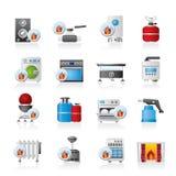 Iconos de las aplicaciones de gas del hogar libre illustration