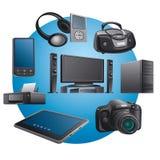 Iconos de las aplicaciones de la electrónica stock de ilustración