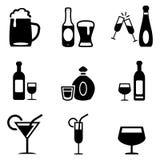 Iconos de las bebidas alcohólicas Foto de archivo libre de regalías