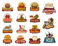 Iconos de las bebidas, de los postres y de las hamburguesas de los alimentos de preparación rápida stock de ilustración
