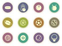Iconos de las bolas de los deportes fijados Imágenes de archivo libres de regalías