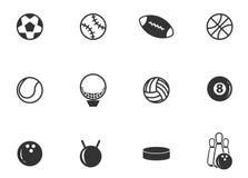 Iconos de las bolas de los deportes fijados Foto de archivo