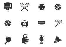 Iconos de las bolas de los deportes fijados Fotos de archivo