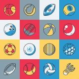 Iconos de las bolas del deporte fijados Ilustración del Vector