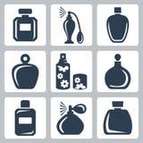 Iconos de las botellas de perfume del vector fijados