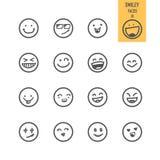 Iconos de las caras del smiley fijados ilustración del vector