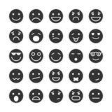 Iconos de las caras del smiley fijados de emociones ilustración del vector