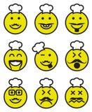 Iconos de las caras sonrientes del cocinero Fotografía de archivo