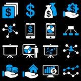 Iconos de las cartas de las finanzas y de negocio Imágenes de archivo libres de regalías