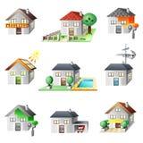 Iconos de las casas fijados Imagenes de archivo